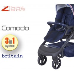Trio COMODO Britain Blu. Zibos 3in1 (passeggino, carrozzina, ovetto auto) full optional, fashion design