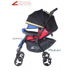 Passegggino SPESA Multi Zibos. Leggero reclinabile con parapioggia e coprigambe. Fashion design (Mondrian Tribute)