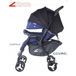 Stroller SPESA Cosmo Zibos. Light, reclining with raincover footcover. Fashion design (Mondrian tribute)
