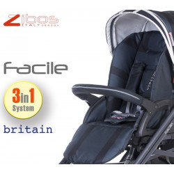 Trio FACILE Britain Black. Zibos 3in1 (passeggino, carrozzina, ovetto auto) full optional, fashion design
