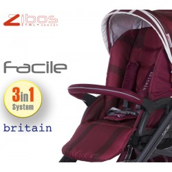 Trio FACILE Britain Red. Zibos 3in1 (passeggino, carrozzina, ovetto auto) full optional, fashion design