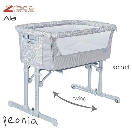 Culla ALA Peonia Sand Zibos. Si affianca al letto e dondola, completa di zanzariera e cuscino anti rigurgito