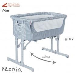 Culla ALA Peonia Gray Zibos. Si affianca al letto e dondola, completa di zanzariera e cuscino anti rigurgito