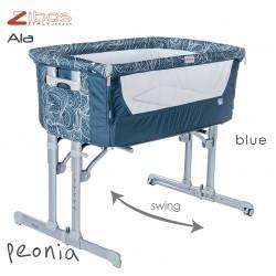 Culla ALA Peonia Blue Zibos. Si affianca al letto e dondola, completa di zanzariera e cuscino anti rigurgito