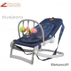Culla ALA Britain Blu Zibos. Si affianca al letto e dondola, completa di zanzariera e cuscino anti rigurgito