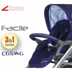 Trio FACILE Cosmo Blu. Zibos 3in1 (passeggino, carrozzina, ovetto auto) full optional, fashion design
