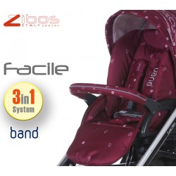 Trio FACILE Bandana Red. Zibos 3in1 (passeggino, carrozzina, ovetto auto) full optional, fashion design