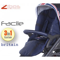 Trio FACILE Britain Blu. Zibos 3in1 (passeggino, carrozzina, ovetto auto) full optional, fashion design