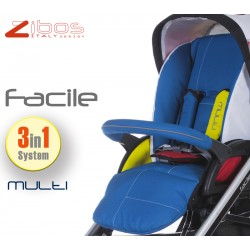 Trio FACILE Multi. Zibos 3in1 (passeggino, carrozzina, ovetto auto) full optional, fashion design (Mondrian Tribute)