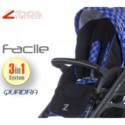 Trio FACILE Quadra Blu. Zibos 3in1 (passeggino, carrozzina, ovetto auto) full optional, fashion design