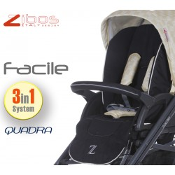 Trio FACILE Quadra Cream. Zibos 3in1 (passeggino, carrozzina, ovetto auto) full optional, fashion design