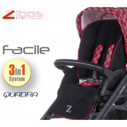 Trio FACILE Quadra Red. Zibos 3in1 (passeggino, carrozzina, ovetto auto) full optional, fashion design
