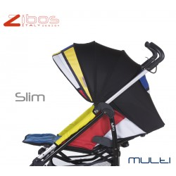 Stroller SLIM Multi Zibos. Light, reclining with raincover footcover. Fashion design (Mondrian tribute)