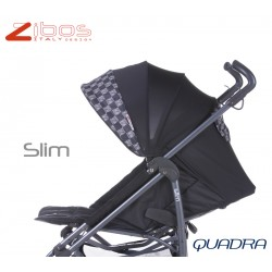 Passegggino SLIM Quadra Black Zibos. Leggero reclinabile con parapioggia e coprigambe. Fashion design