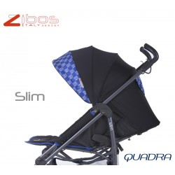Stroller SLIM Quadra Blu Zibos. Light, reclining with raincover footcover. Fashion design