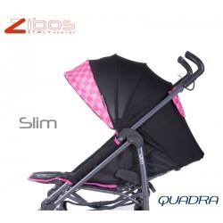 Passegggino SLIM Quadra Magenta Zibos. Leggero reclinabile con parapioggia e coprigambe. Fashion design