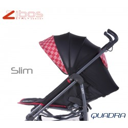 Stroller SLIM Quadra Red Zibos. Light, reclining with raincover footcover. Fashion design