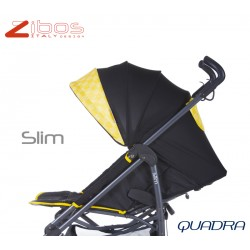 Passegggino SLIM Quadra Yellow Zibos. Leggero reclinabile con parapioggia e coprigambe. Fashion design