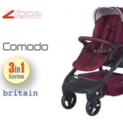 Trio COMODO Britain Red. Zibos 3in1 (passeggino, carrozzina, ovetto auto) full optional, fashion design